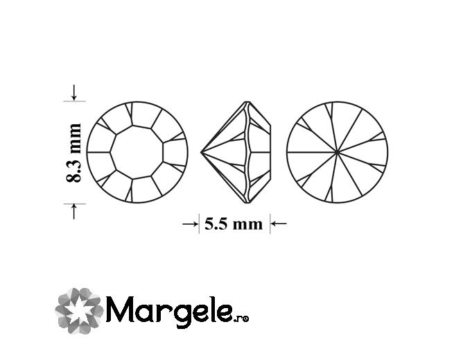 Cristal preciosa chaton maxima ss39 - 8mm crystal labrador (1buc)