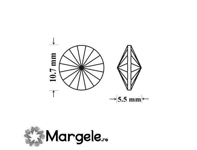 Cristal preciosa rivoli maxima ss47 - 10mm light peach (1buc)