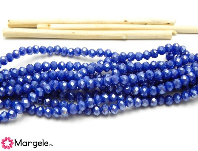 Cristal rondel 4x3mm albastru opac lustered (1buc)