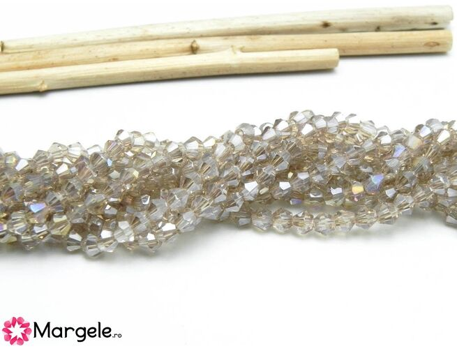 Cristale biconice 3mm bej (10buc)