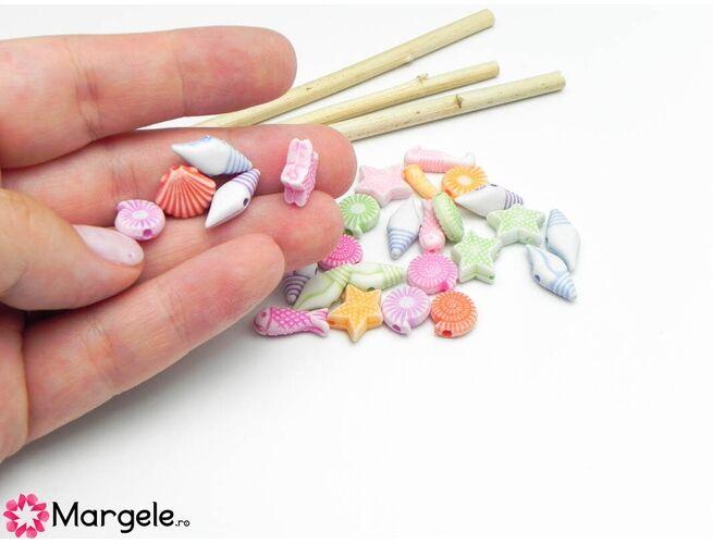 Margele acrilice 10~15x6~11x4~5mm mix (10buc)