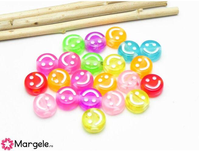 Margele acrilice smiley 10x5mm (10buc)