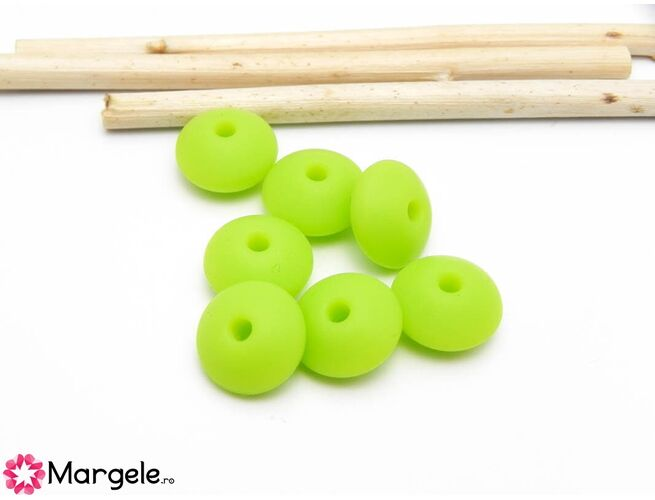 Margele de silicon 12x6mm verde (1buc)
