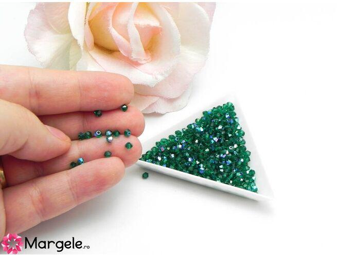 Margele preciosa biconic 3mm emerald ab (10buc)