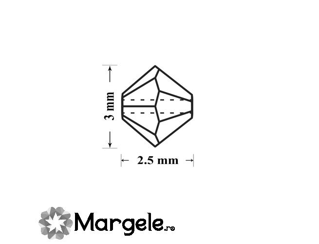 Margele preciosa biconic 3mm jet hematit full (10buc)