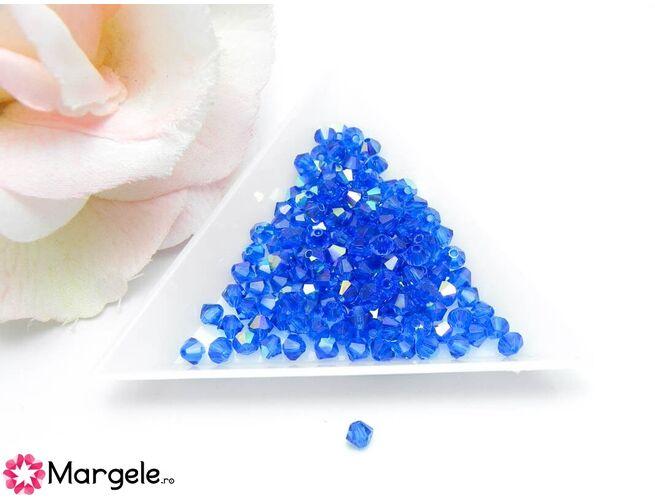 Margele preciosa biconic 4mm capri blue ab (10buc)