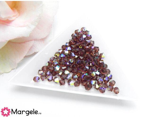 Margele preciosa biconic 4mm light burgundy ab (10buc)