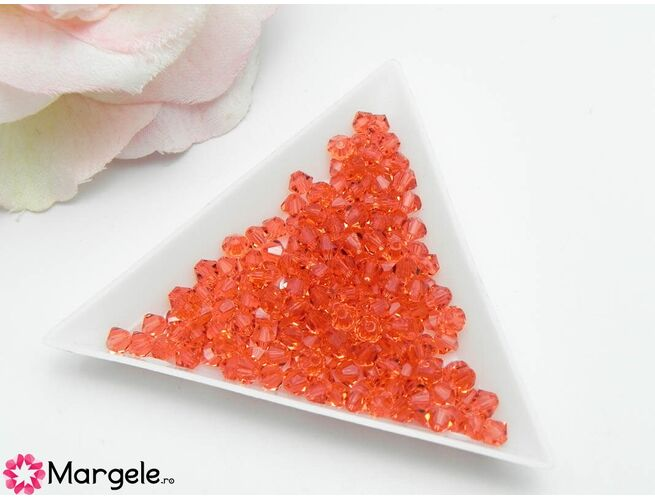 Margele preciosa biconic 4mm padparadscha (10buc)