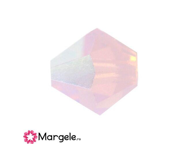 Margele preciosa biconic 4mm rose opal ab (10buc)
