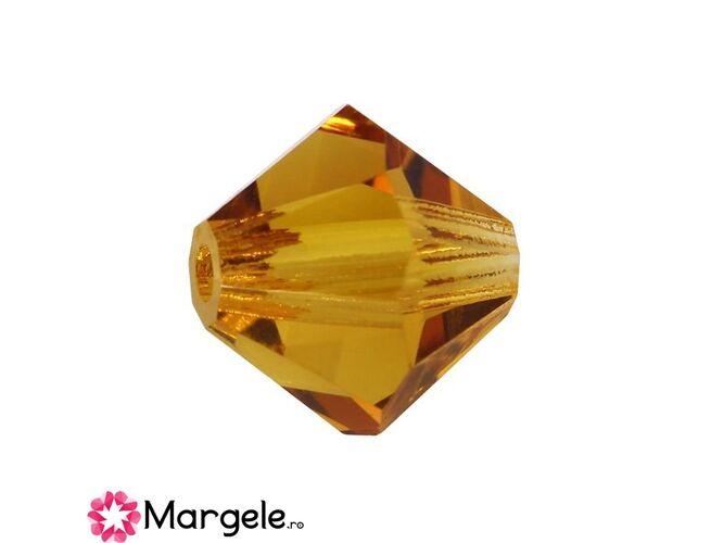 Margele preciosa biconic 4mm topaz (10buc)