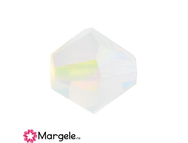 Margele preciosa biconic 4mm white opal ab (10buc)