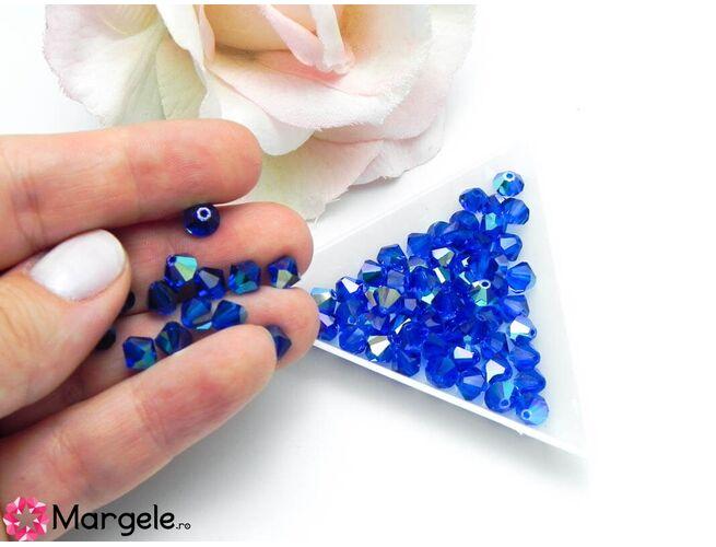 Margele preciosa biconic 6mm capri blue ab (1buc)