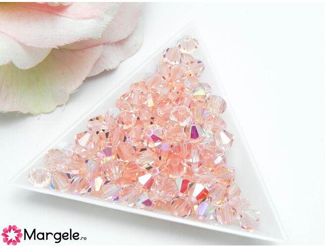 Margele preciosa biconic 6mm light rose ab (1buc)