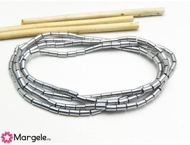 Sirag hematit rondele 5x3mm argintiu