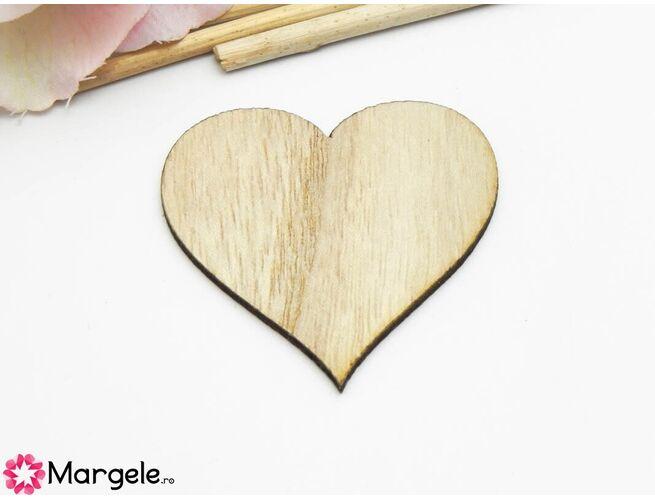 Cabochon lemn inima 52mm natur (1buc)