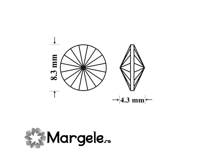 Cristal preciosa rivoli maxima ss39 - 8mm peridot (1buc)