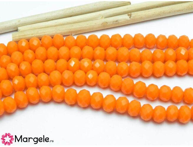 Cristal rondel 6x4mm portocaliu opac (1buc)