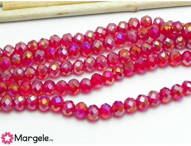 Cristal rondel 6x4mm rubin ab  (1buc)