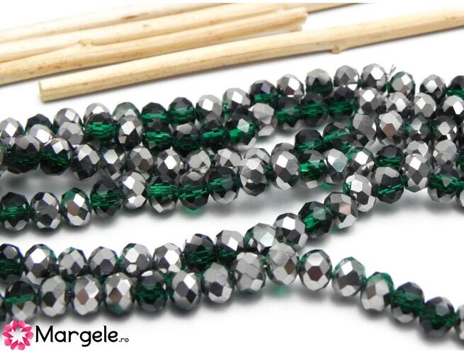 Cristal rondel 6x4mm smarald/argintiu (1buc)