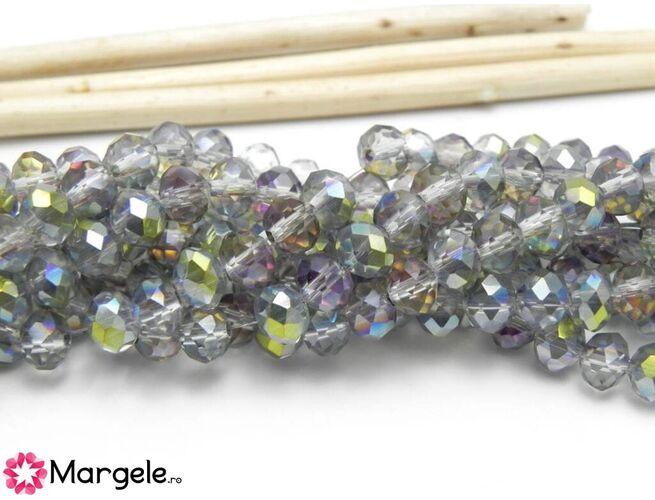 Cristal rondel 6x5mm verde mov iris  (1buc)