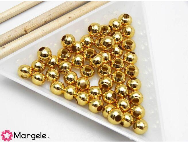 Margele otel inoxidabil 6mm auriu (1buc)