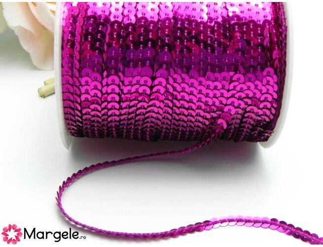 Panglica paiete rotunde 4mm magenta (1m)