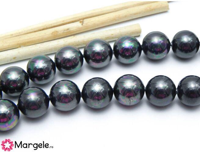 Perle tip mallorca 10mm negru ab (1buc)