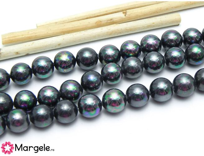 Perle tip mallorca 8mm negru ab (1buc)