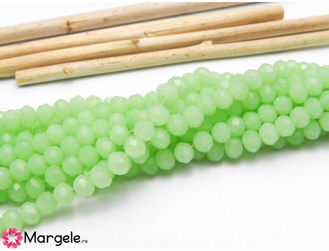 Cristal rondel 4x3mm lustered verde opal  (1buc)