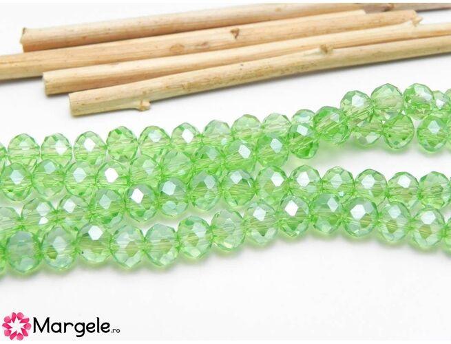 Cristal rondel 6x4mm verde deschis  (1buc)