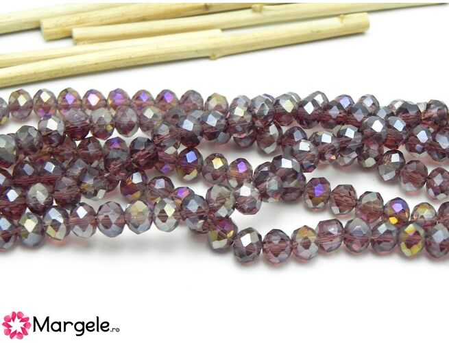 Cristal rondel 6x5mm ametist ab  (1buc)