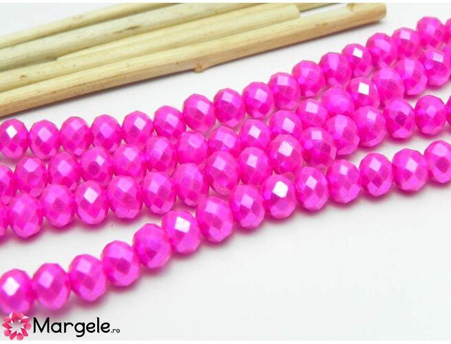 Cristal rondel 6x5mm fucsia perlat  (1buc)