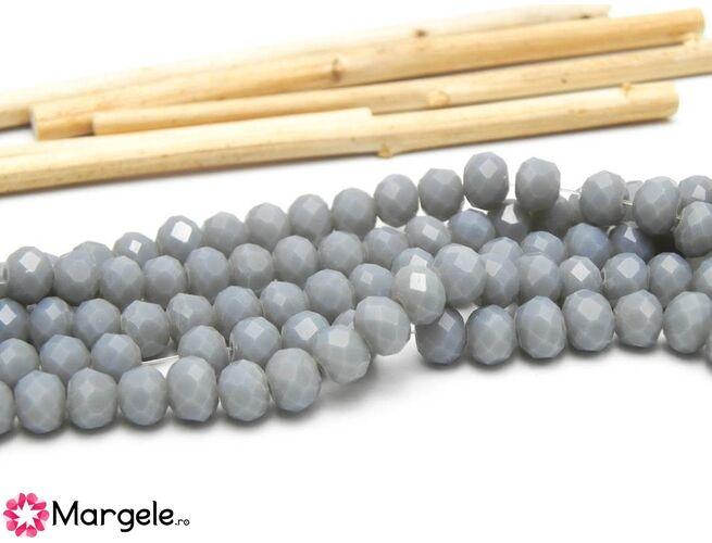 Cristal rondel 6x5mm gri opac  (1buc)