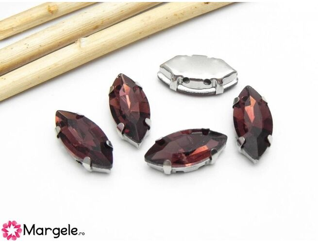 Distantier montee cu rhinestone de cristal 15x7mm burgundy (1buc)