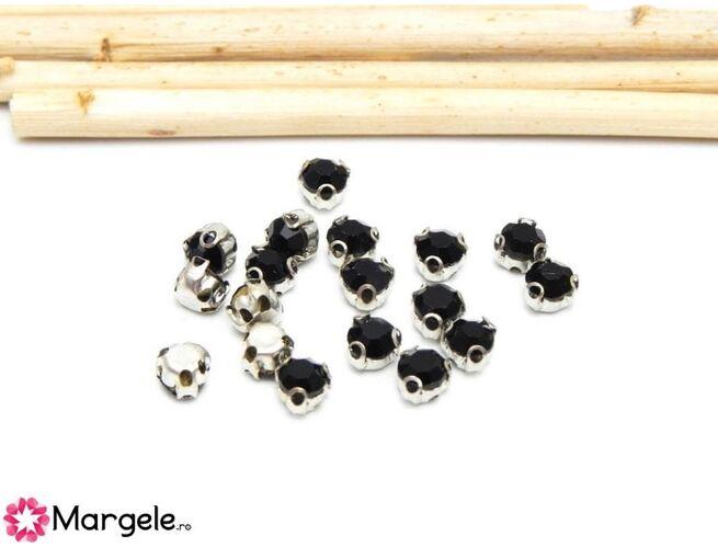 Distantier montee cu rhinestone de cristal 4mm negru (10buc)