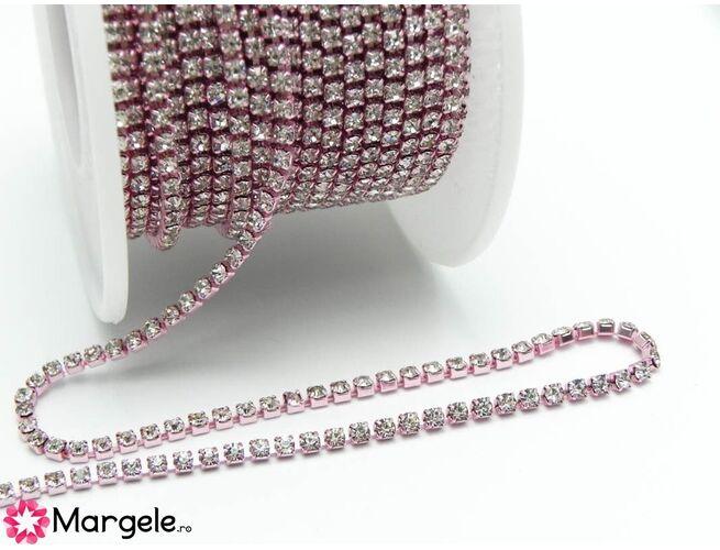Lant cu strasuri 2mm roz (0.5m)