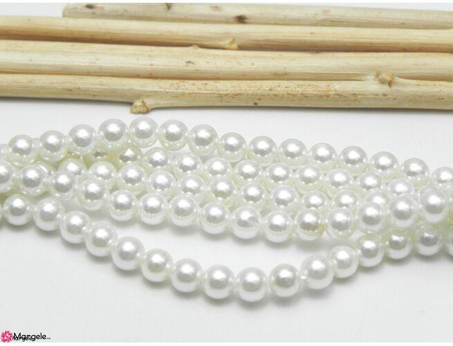 Perle tip mallorca 4mm alb sidef (1buc)