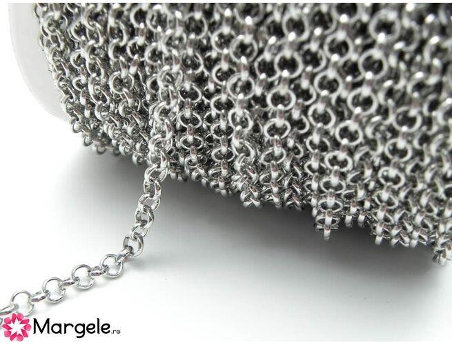 Lant cu zale rotunde 5mm argintiu inchis (1m)