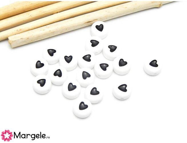 Margele acrilice inima 7x4mm (10buc)