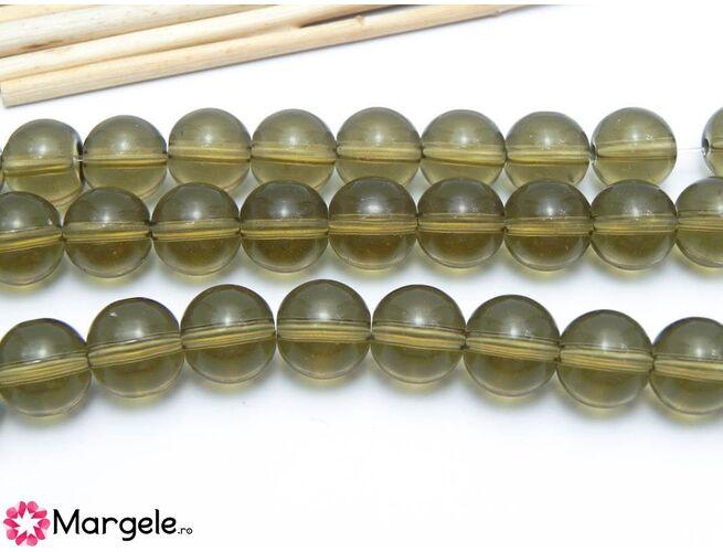 Margele sticla 10mm gri kaki (10buc)