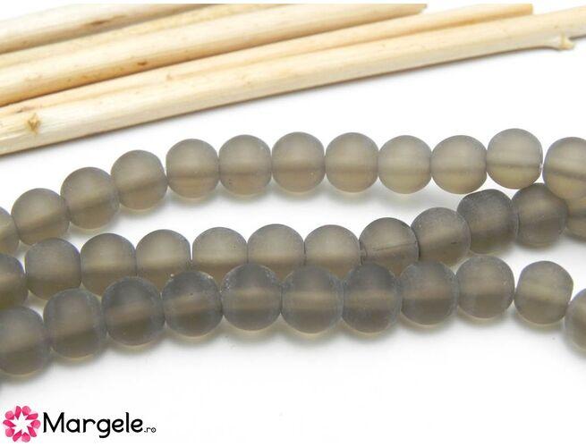 Margele sticla 6mm gri inghetat (10buc)