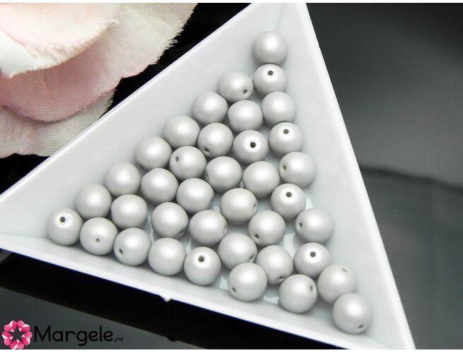 Perle cehia 6mm powder pastel gray (10buc)