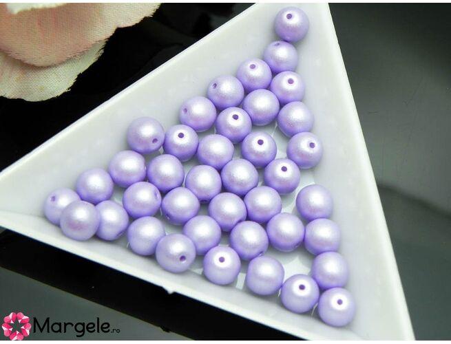 Perle cehia 6mm powder pastel purple (10buc)