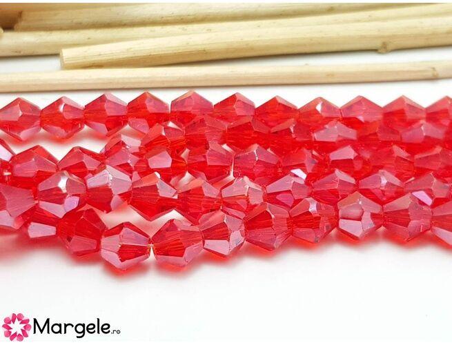 Cristale biconice rosu luster 6mm (10buc)