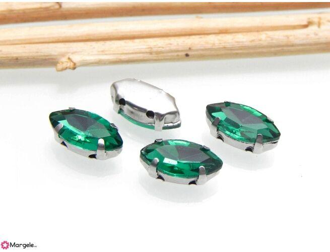 Distantier montee cu rhinestone de cristal 12x6mm emerald