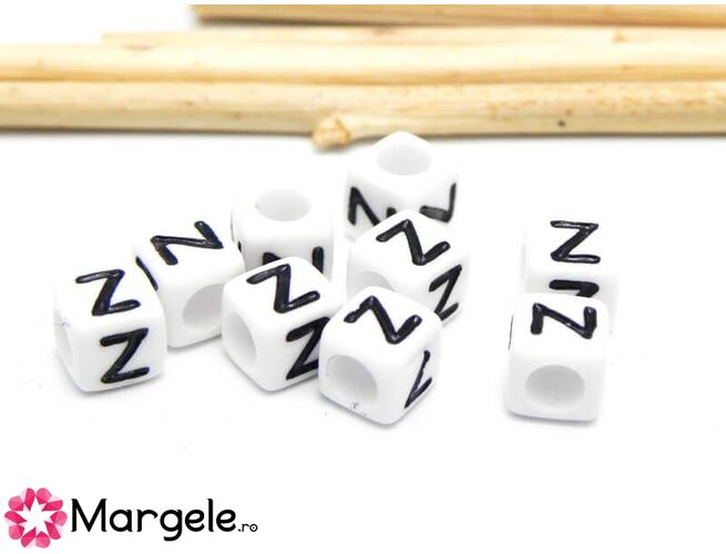 Margele acrilice litera z 6x6mm (10buc)