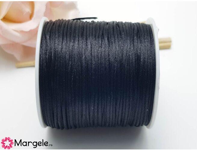 Snur satinat 1mm negru (1m)