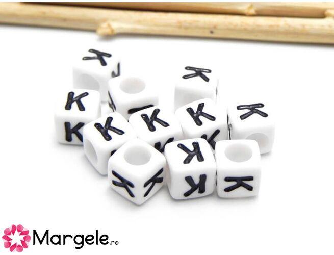 Margele acrilice litera k 6x6mm (10buc)