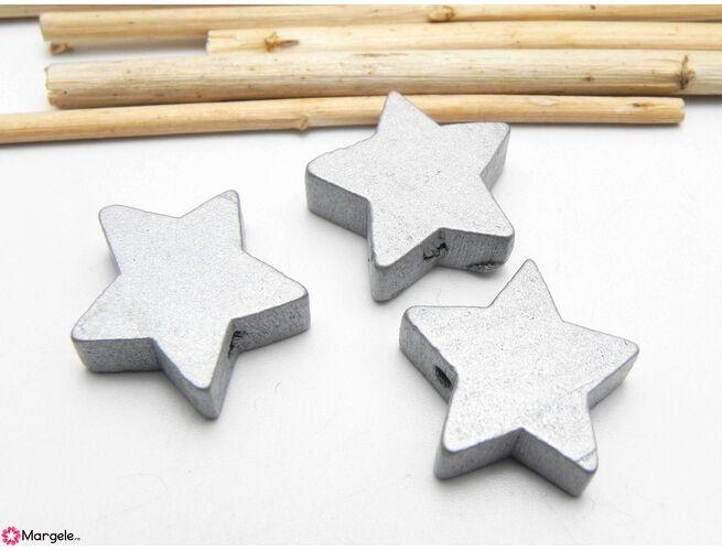 Margele de lemn 20x18mm argintiu (5buc)