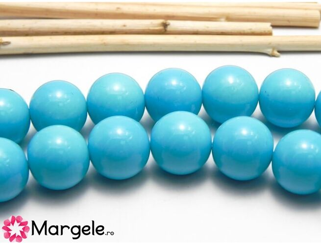 Margele sticla 12mm albastru opac (1buc)